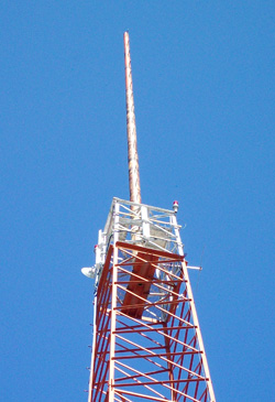 Wireless WiFi antennas on broadcast tower